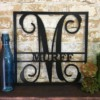 Personalized Square Initial & Family Name Metal Sign